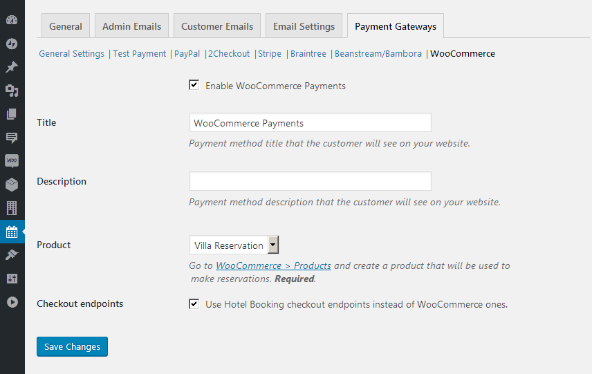 Hotel Booking WooCommerce Payments - 1
