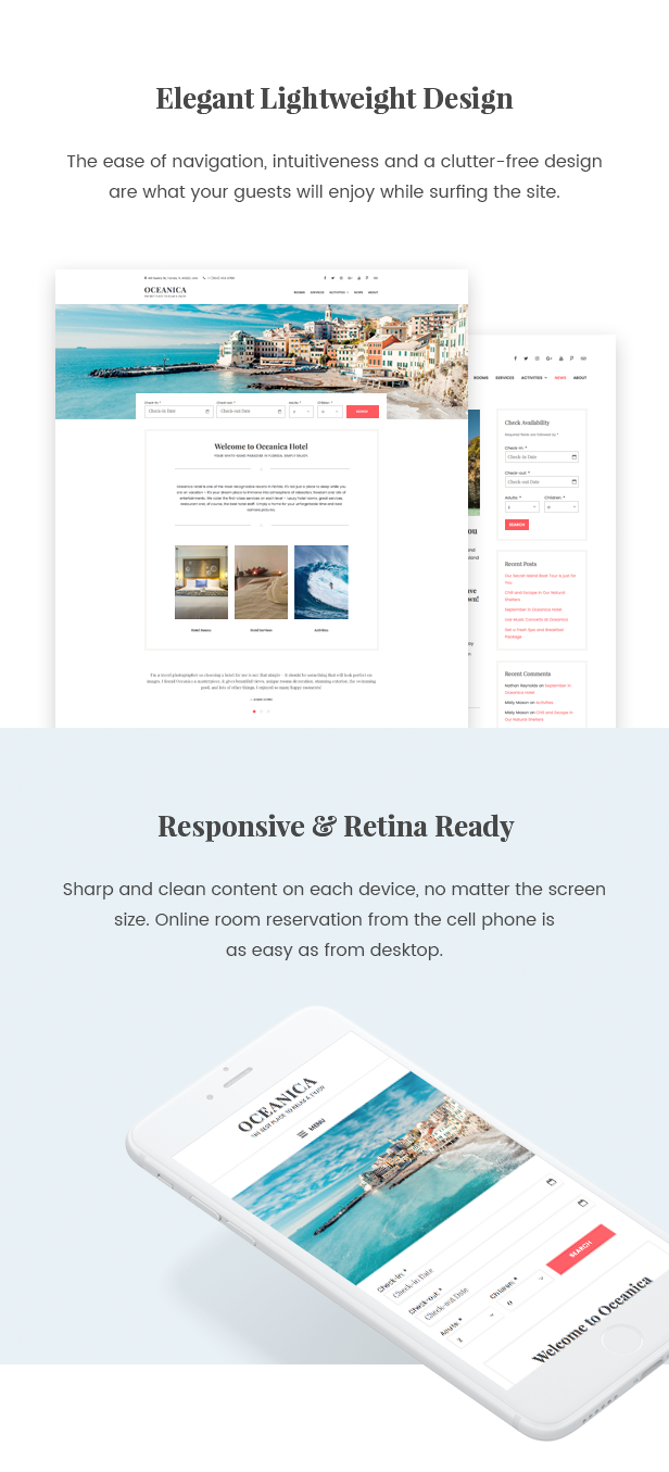 WordPress Hotel Theme - Oceanica - 3