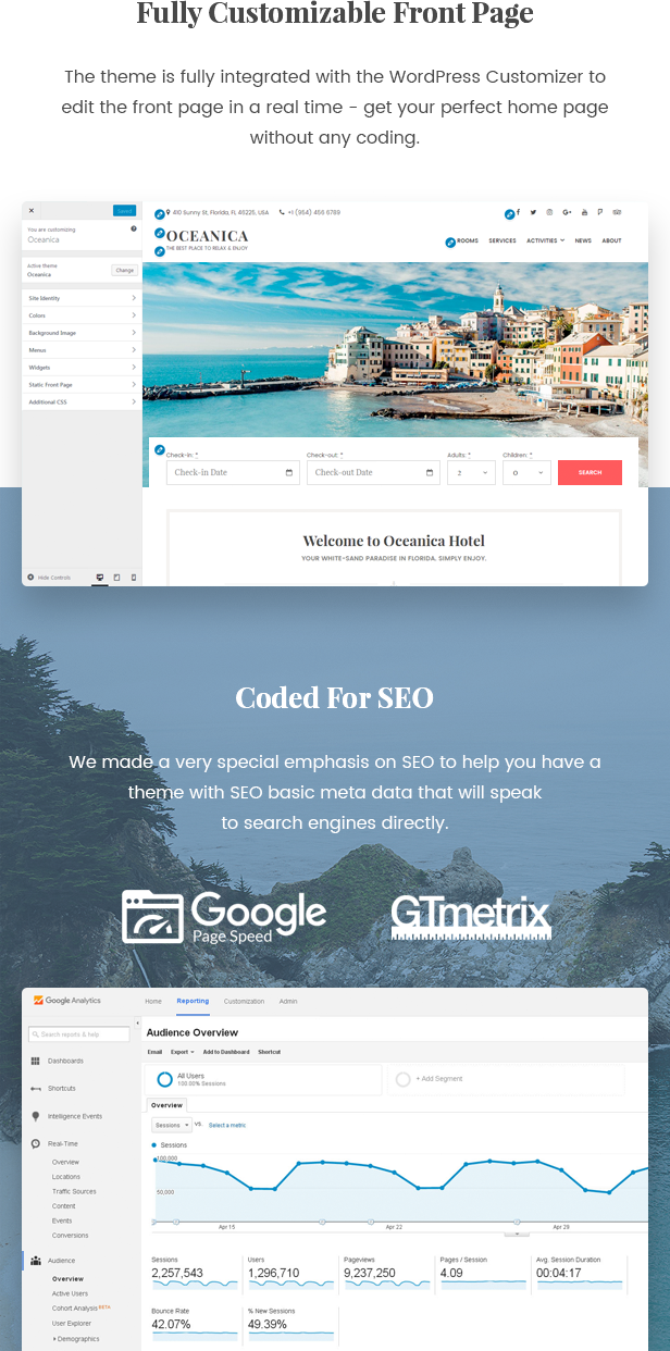 WordPress Hotel Theme - Oceanica - 4